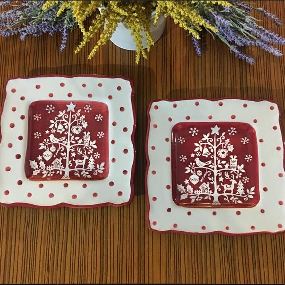 222 Fifth Tivoli Red Holiday Plates